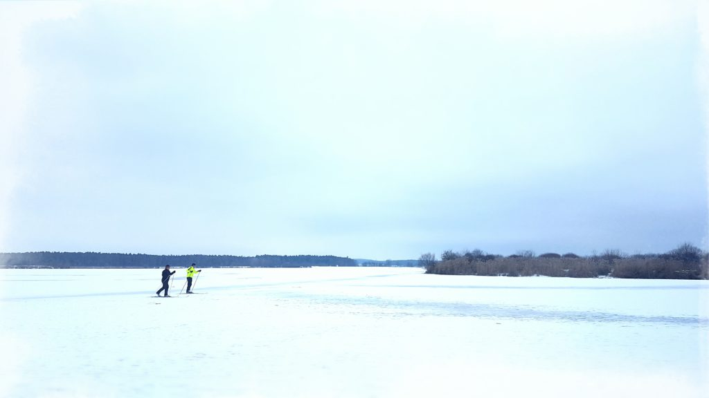 Und sogar Langläufer nutzen den beschneiten Altmühlsee!